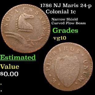 1786 NJ Maris 24-p Colonial 1c Grades vg+