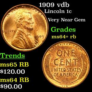 1909 vdb Lincoln 1c Grades Choice+ Unc RB