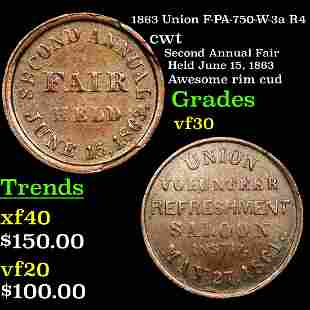 1863 Union F-PA-750-W-3a R4 Civil War Token 1c Graded