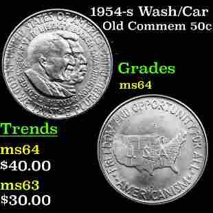 1954-s Wash/Car Old Commem Half Dollar 50c Graded