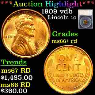 ***Auction Highlight*** 1909 vdb Lincoln Cent 1c Graded