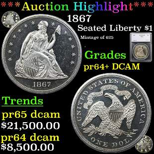 Proof ***Auction Highlight*** 1867 Seated Liberty