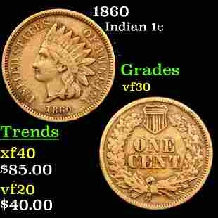 1860 Indian Cent 1c Graded vf++