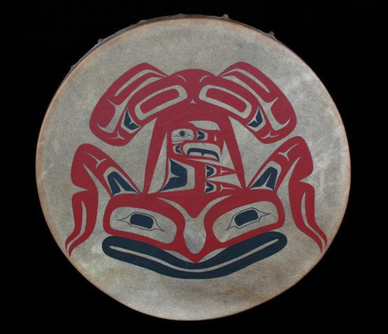"1:  Northwest Coast Painted Drum with Frog Design 20"" D"