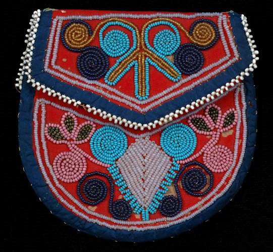 2: Woodland Beaded Pouch ca. 1910 on Trade Cloth with F