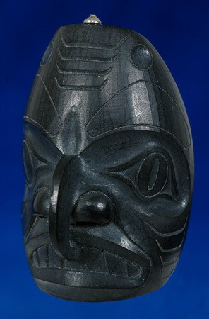 "5:  Haida Argillite Shark - Hawk Mask Pendant 1 7/8"" H."