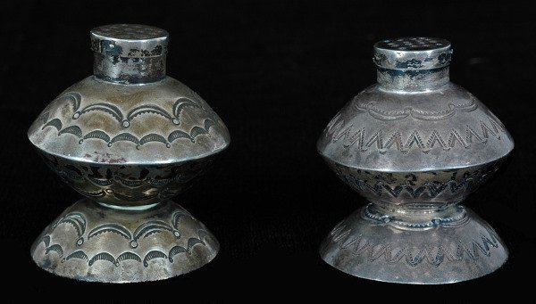 6: Navajo Stamped Silver Salt and Pepper Set ca. 1920