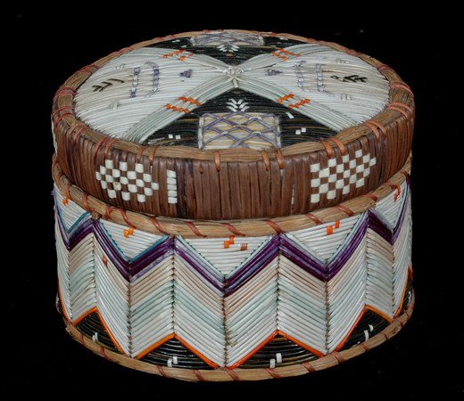 8: Very Fine Birch Bark and Porcupine Quill Basket with