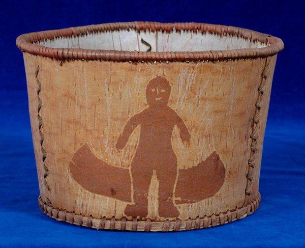 """10:  Chippewa Figured Birch Bark Basket 9"""" D. 6"""" H. Fin"""