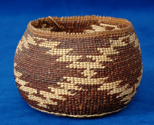 "11:  Pit River Basket Purchased in 1936 4"" D. 3"" H. Fi"