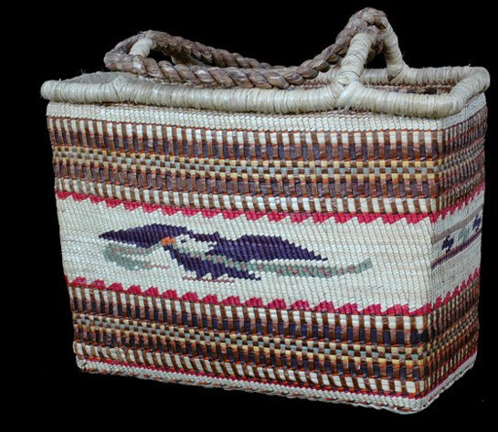 13: Nuu-chah-nulth Carry Basket Double Woven with Eagle