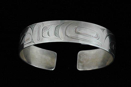 19: Gitksan Silver Bracelet Hummingbird Design by Rober