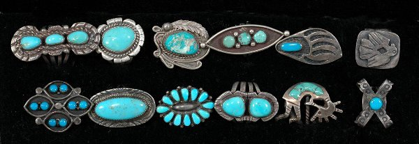 22: Collection of Twelve Navajo Silver and Turquoise Ri