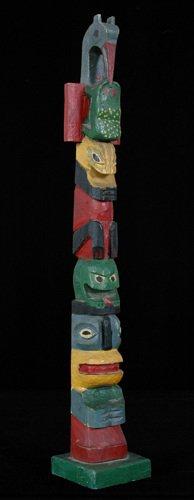 """66:  Tlingit Carved Five Figure Totem ca. 1930 25"""" H."""