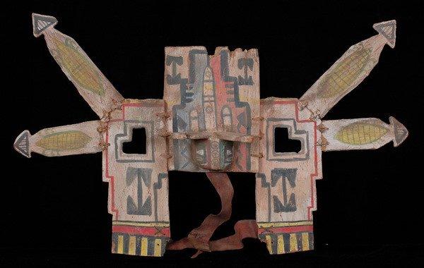 212:  Pueblo Tableta Headdress, Carved Cottonwood Root