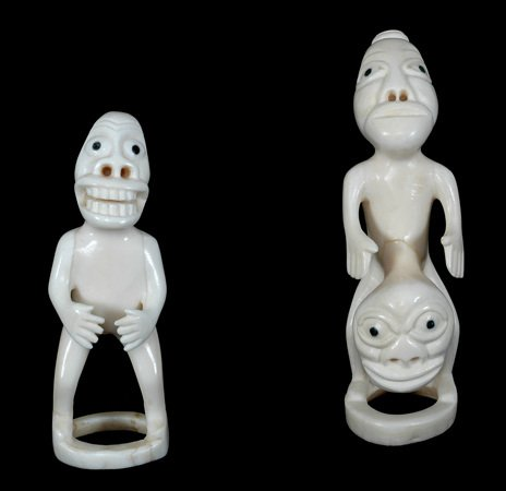 "407:  Two Ivory Tupilaks From Greenland 4 1/4"" H. and 3"