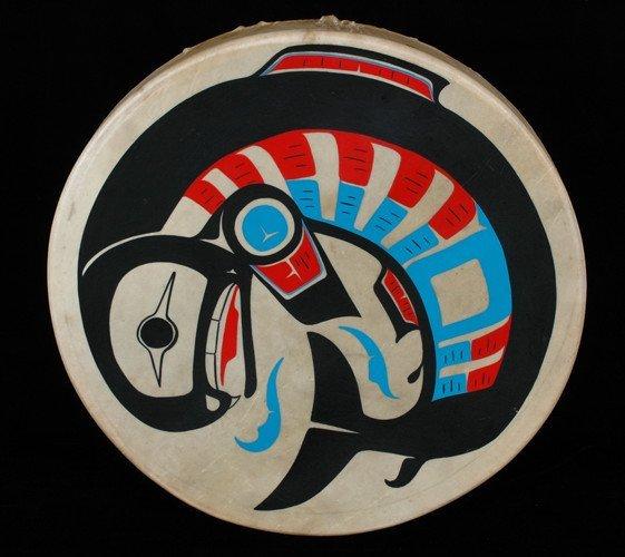 "1: Northwest Coast Painted Salmon Drum Signed 21 1/2"" D"