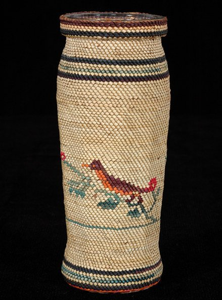 2: Nuu-chah-nulth Basketry Covered Jar with Robin and F