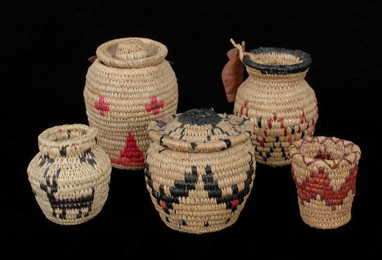 3: Collection of Five Baskets with Southwest Design by