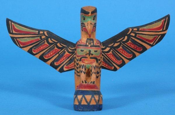 """4: Charlie James Eagle Totem Signed on Back of Wings """"C"""