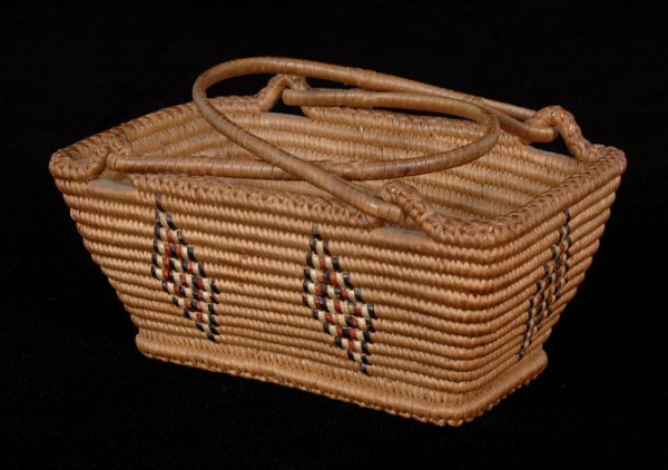 7: Lillooet Handled Basket Very Finely Woven with Trian