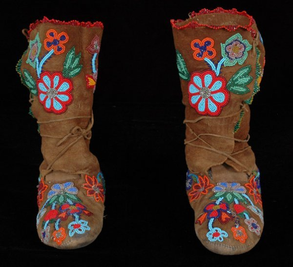 8: Pair of Plains Beaded High Top Moccasins with Floral