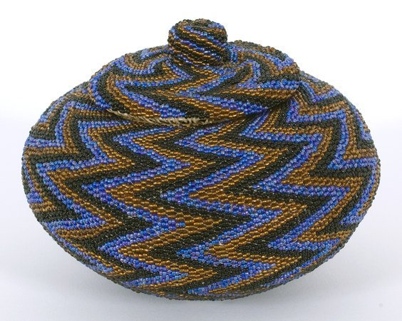 10: Paiute Fully Beaded Basket with Nob Top Lid ca. 194