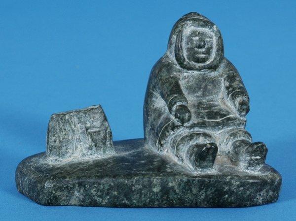"""11: Inuk Hunter Sculpture ca. 1960 5"""" W. 3"""" H. Good Con"""