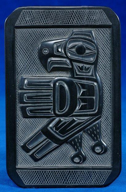 12: Carved Haida Argillite Plate by Denny Dixon 1971 -