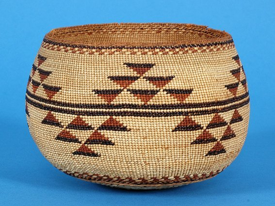 13: Yurok Basketry Bowl Finely Woven with Triangle Desi