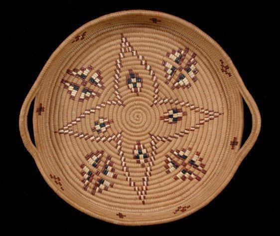 "16: Salish Handled Basketry Tray with Star Design 14"" W"