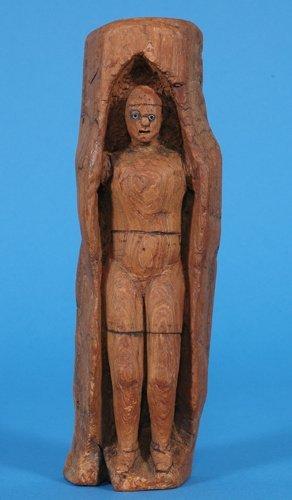 17: Northwest Coast Carved Human Figure with Bead Eyes