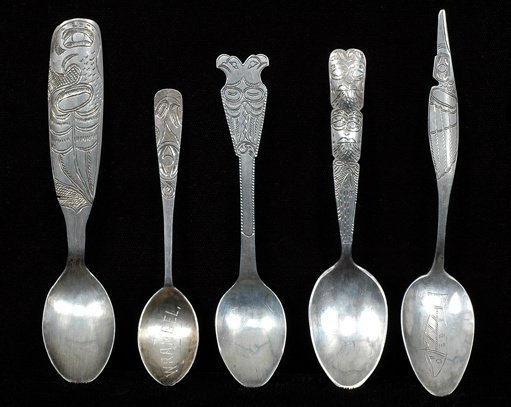 19: Five Tlingit Coin Silver Engraved Spoons From Sitka