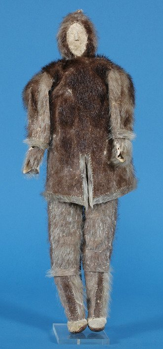 """22: Inuit Sealskin Doll in Traditional Dress 20"""" H. Fai"""