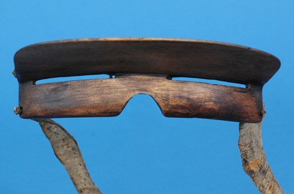 "92:  Aleut Wooden Snow Goggles 5 1/4"" L. 3 1/2"""