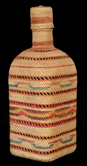 Makah Basketry Covered Bottle With Open Work And C