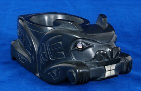 Haida Argillite Beaver Bowl Carved By Glen Pollard