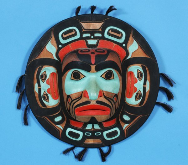 """247: Kwagiulth Moon Mask 21"""" D. Fine Condition"""