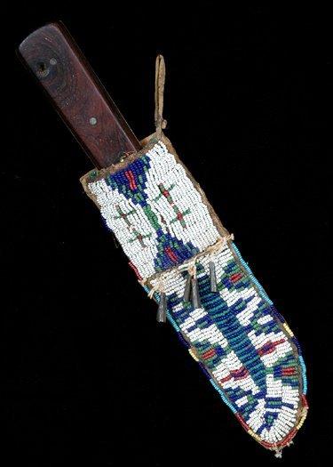 254: Cheynne Beaded Knife Sheath Sinew Sewn on Parflech