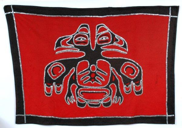 256: Kwakwaka'wakw Button Blanket with Double Eagle Des