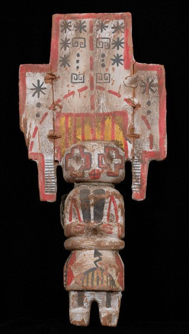 "257: Pueblo Carved Clown Kachina with Tableta 13"" H. 6"""