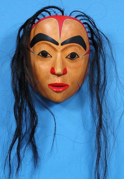 258: Glen Rabena Portrait Mask Carved Alder with Horseh