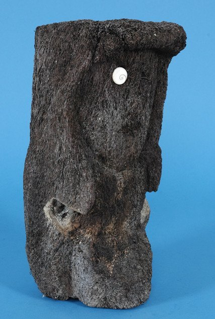 263: Old Hawaiian Native Fern Wood Carving with One She