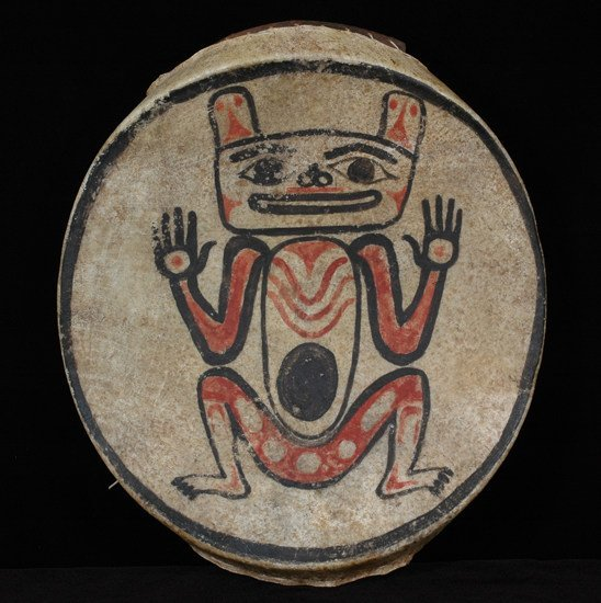 1: Tlingit Drum ca. 1910 with Human-Bear Transformation