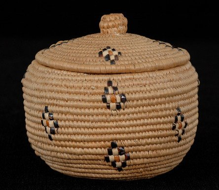 "3: Lillooet Lidded Basket Very Finely Woven 3 1/4"" D."