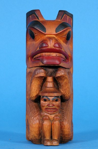 4: Bear and Chief Totem Finely Carved by Mitchell Morri