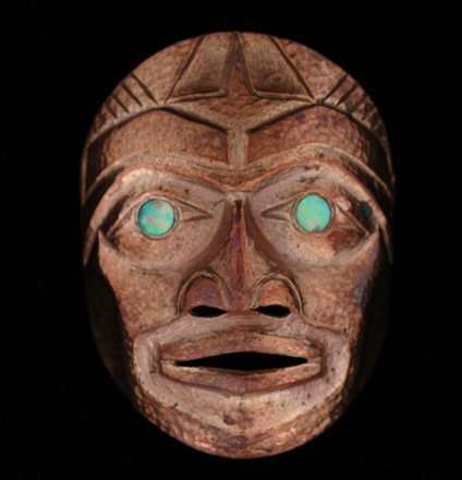 5: Russell Smith Copper Pendant Mask with Abalone Eyes