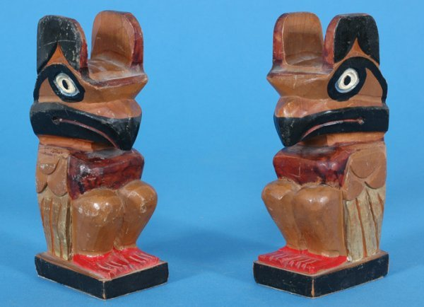 9: Pair of Carved Thunderbird Bookends 1936 Thunder Bir