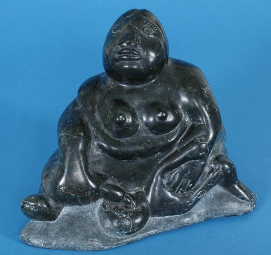 "12: Inuit Sculpture of a Mother and Child 9"" L. 7 1/2"""