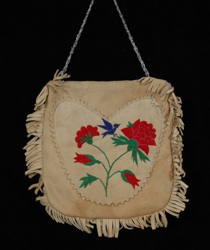 17: Silk Embroidered Pouch with Floral and Bird Design